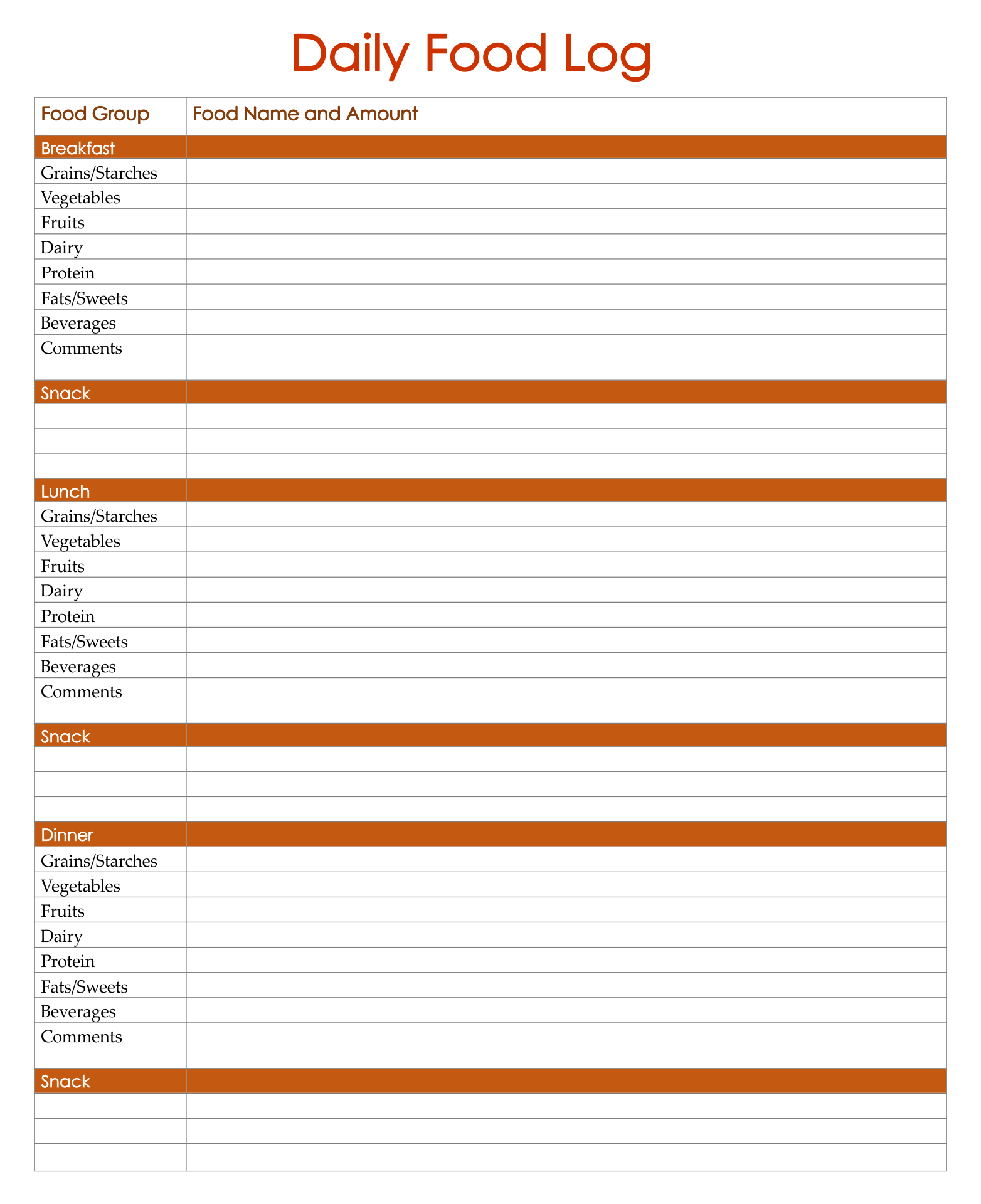 7 Best Images Of Printable 7 Day Food Journal