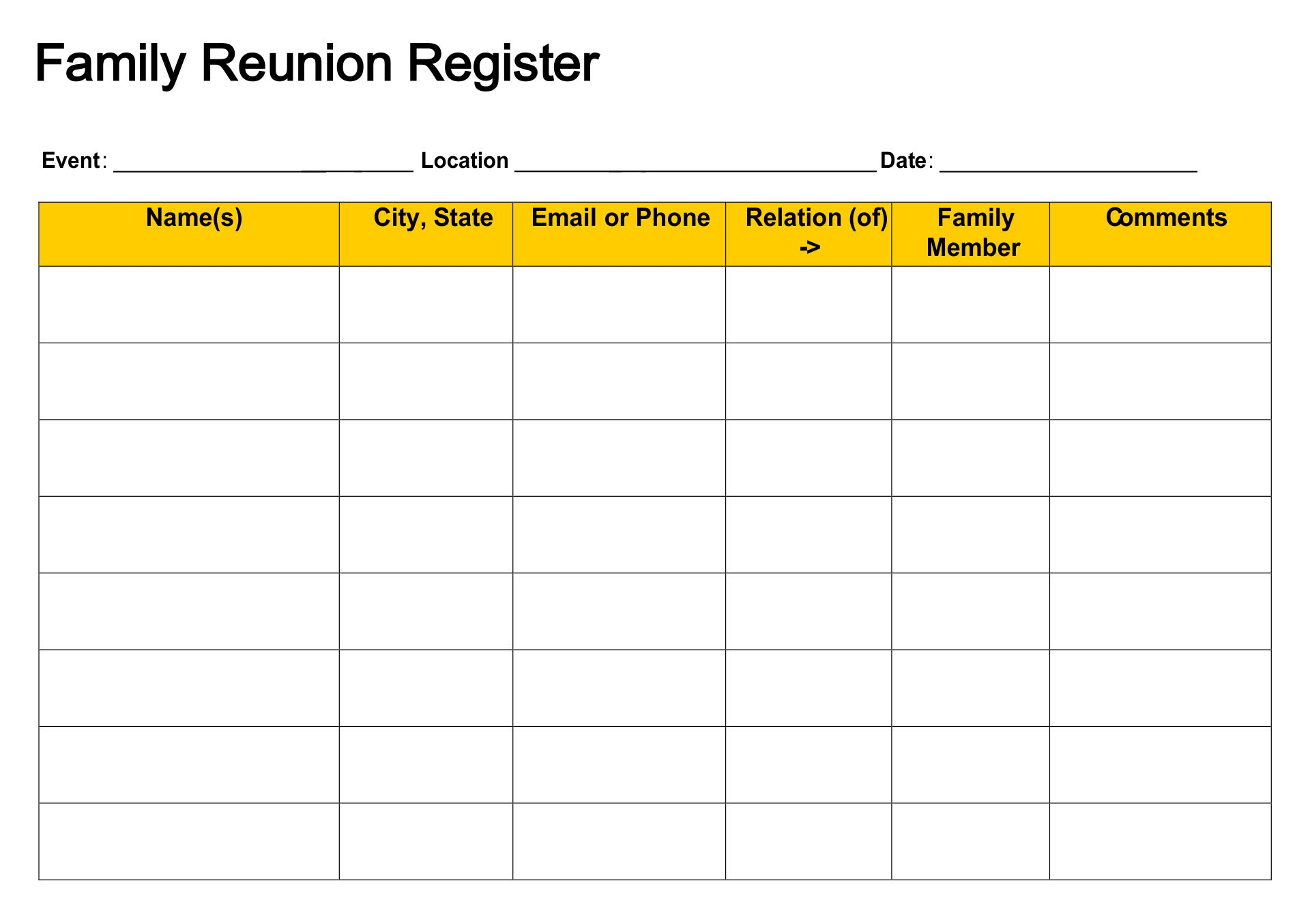 7 Best Images Of Family Reunion Forms Printable