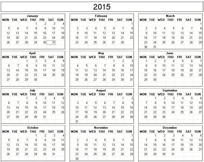 Printable Calendar One Page July 2015