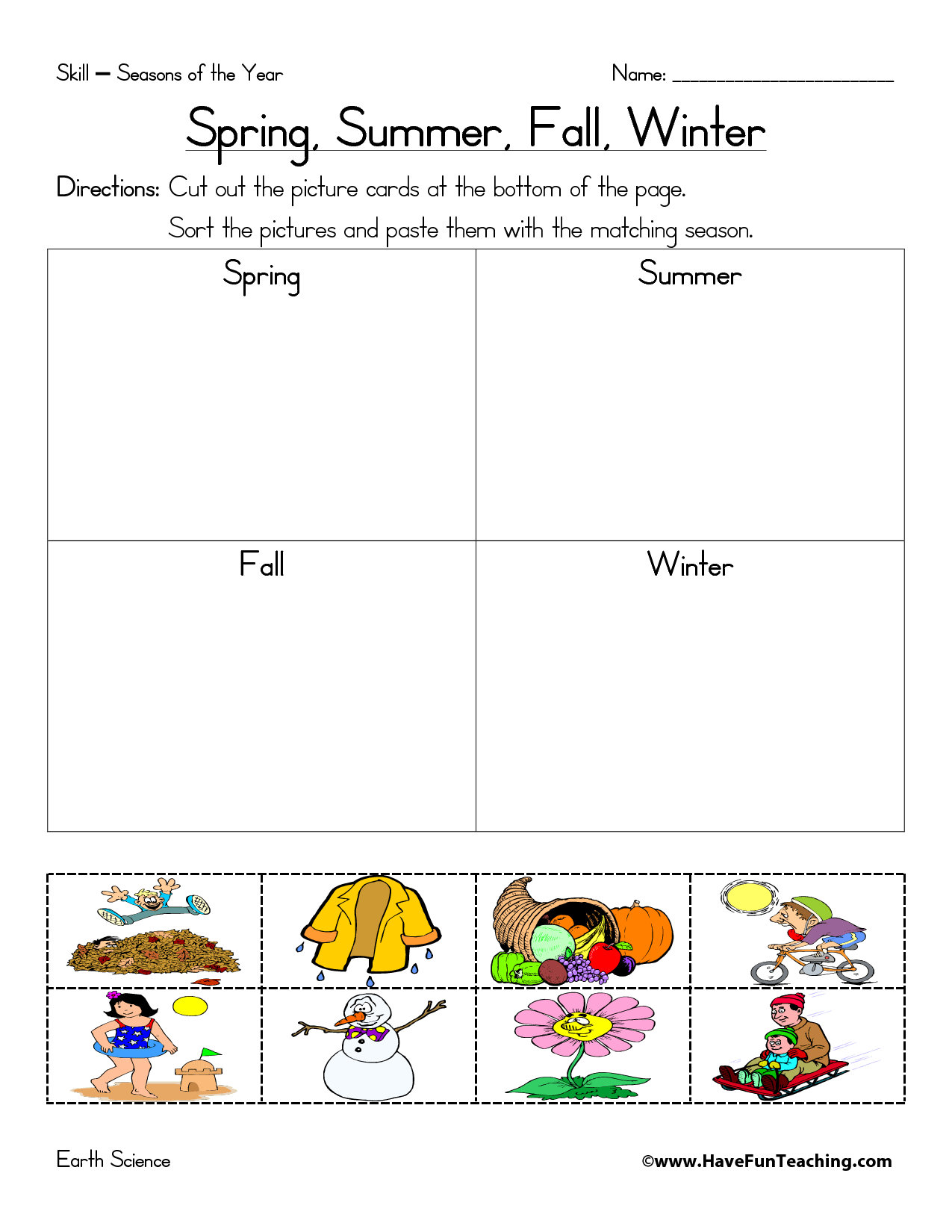 4 Best Images Of Seasons Worksheets Printable