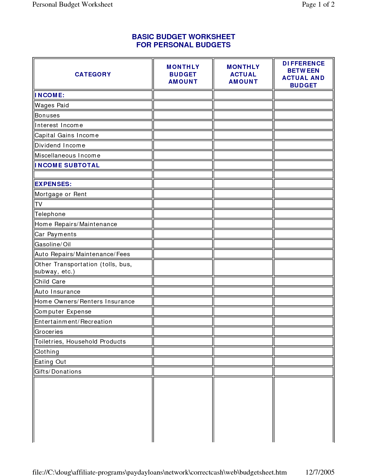6 Best Images Of Simple Family Budget Worksheet Printable
