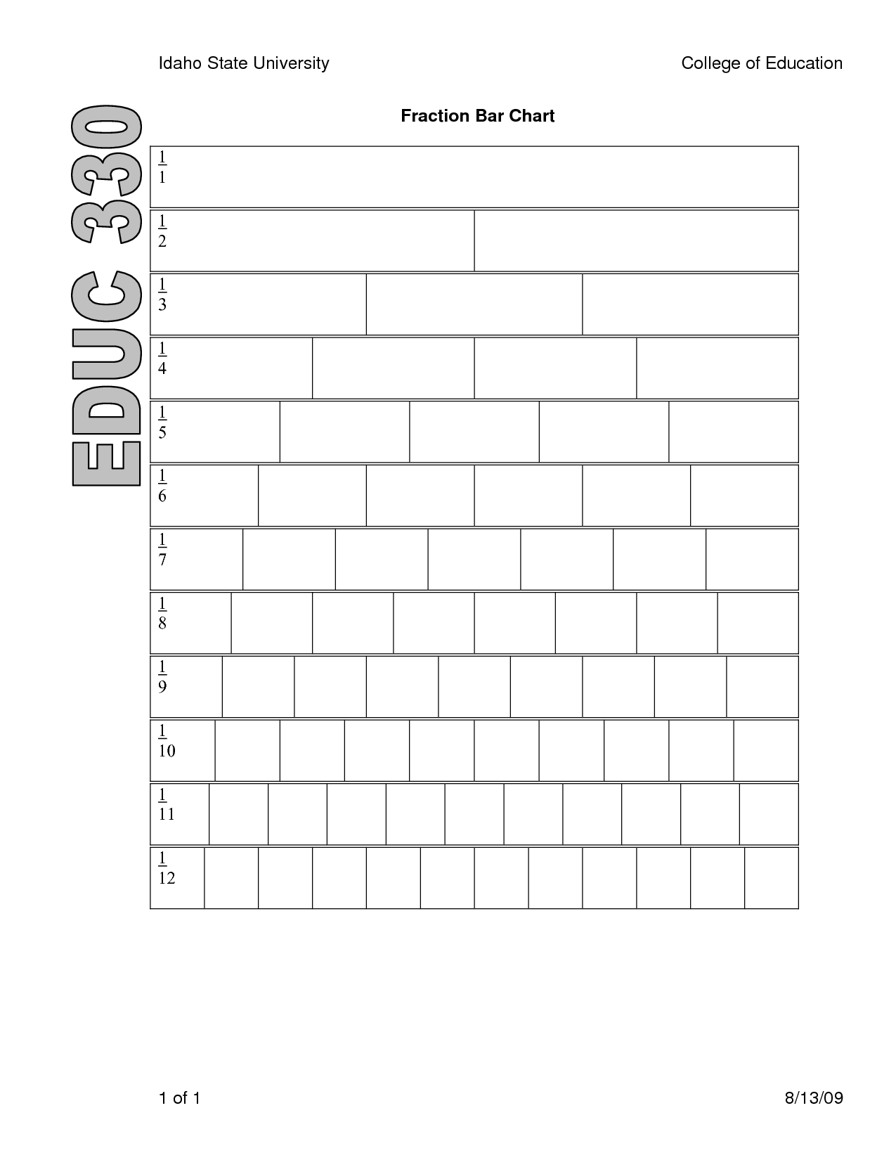 4 Best Images Of Printable Blank Fraction Bars