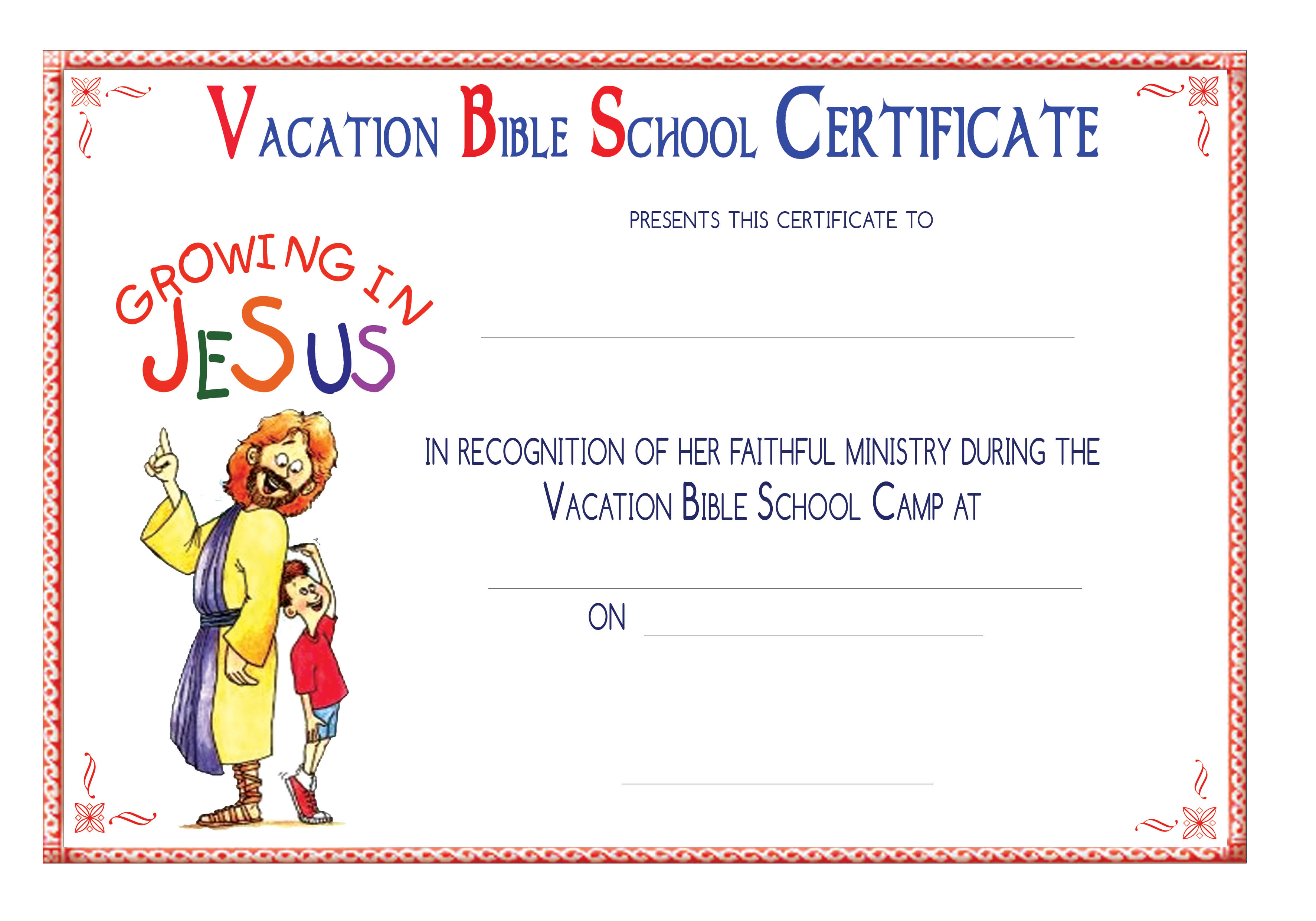 5 Best Images Of Printable Vbs Completion Certificates