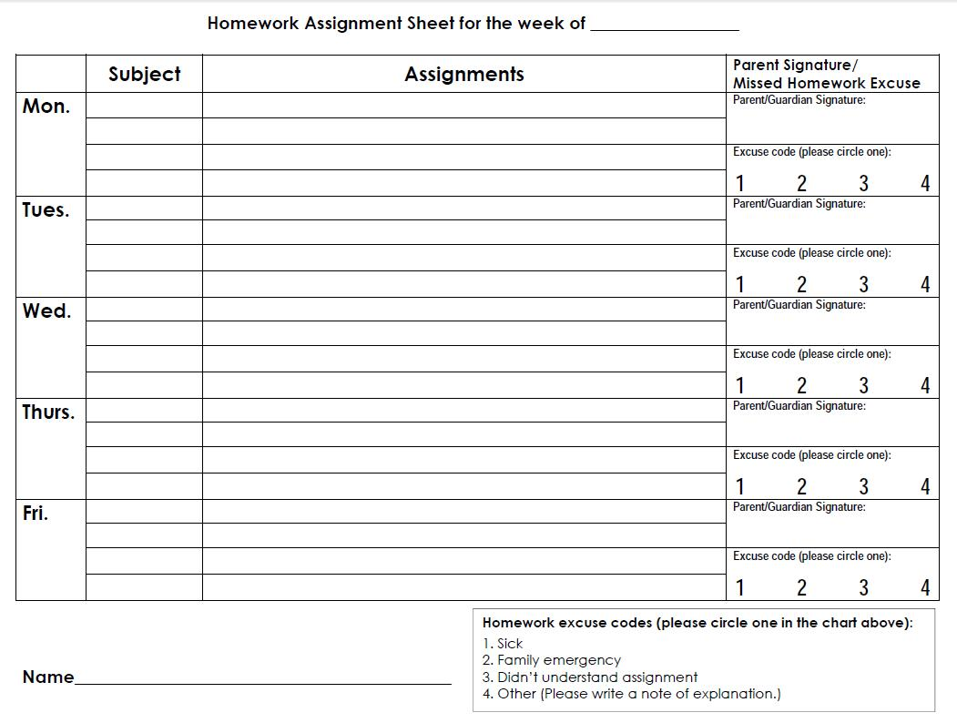 Homework Assignment Sheet For Elementary Silkstudio