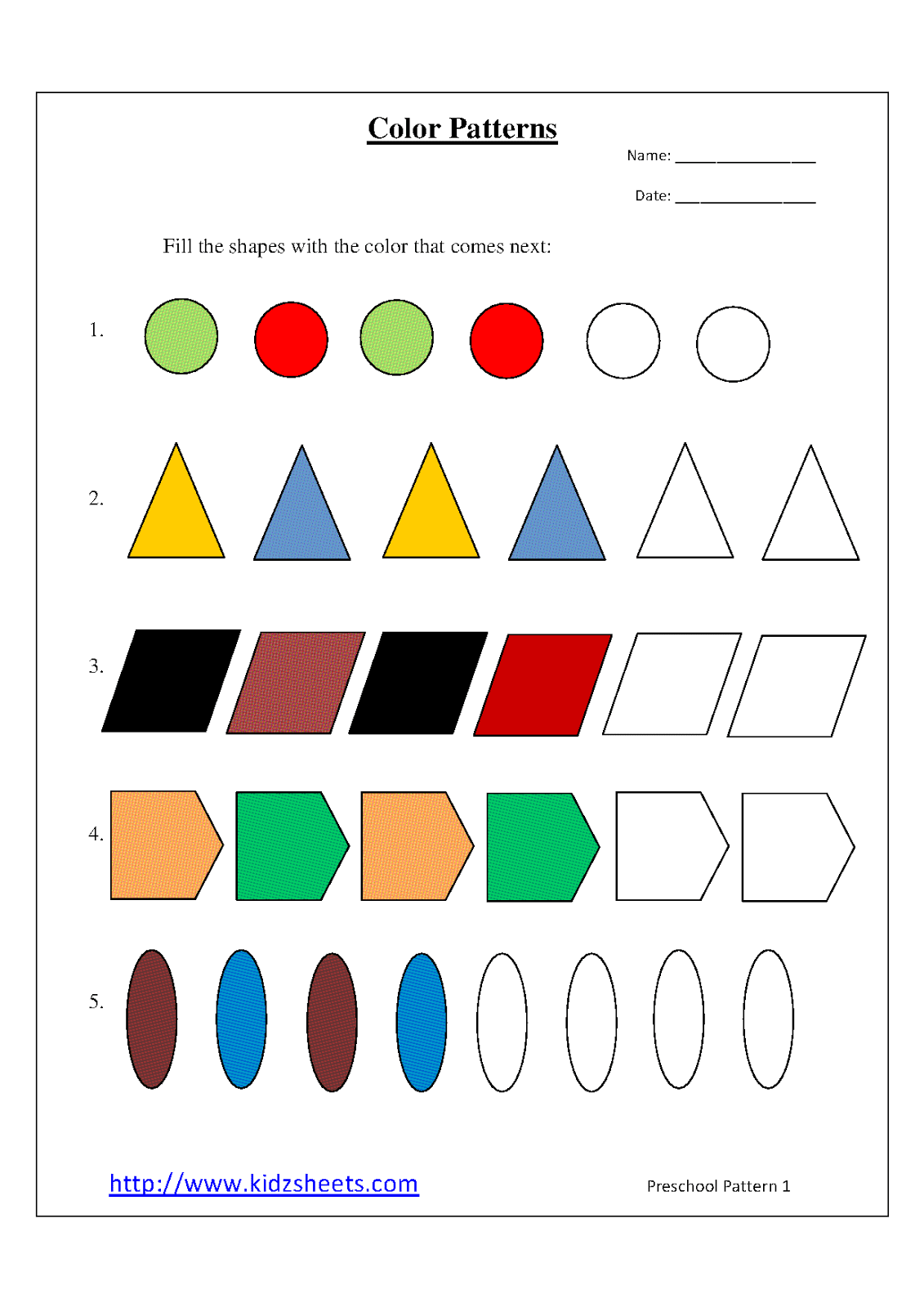 9 Best Images Of Printable Pattern Worksheets For