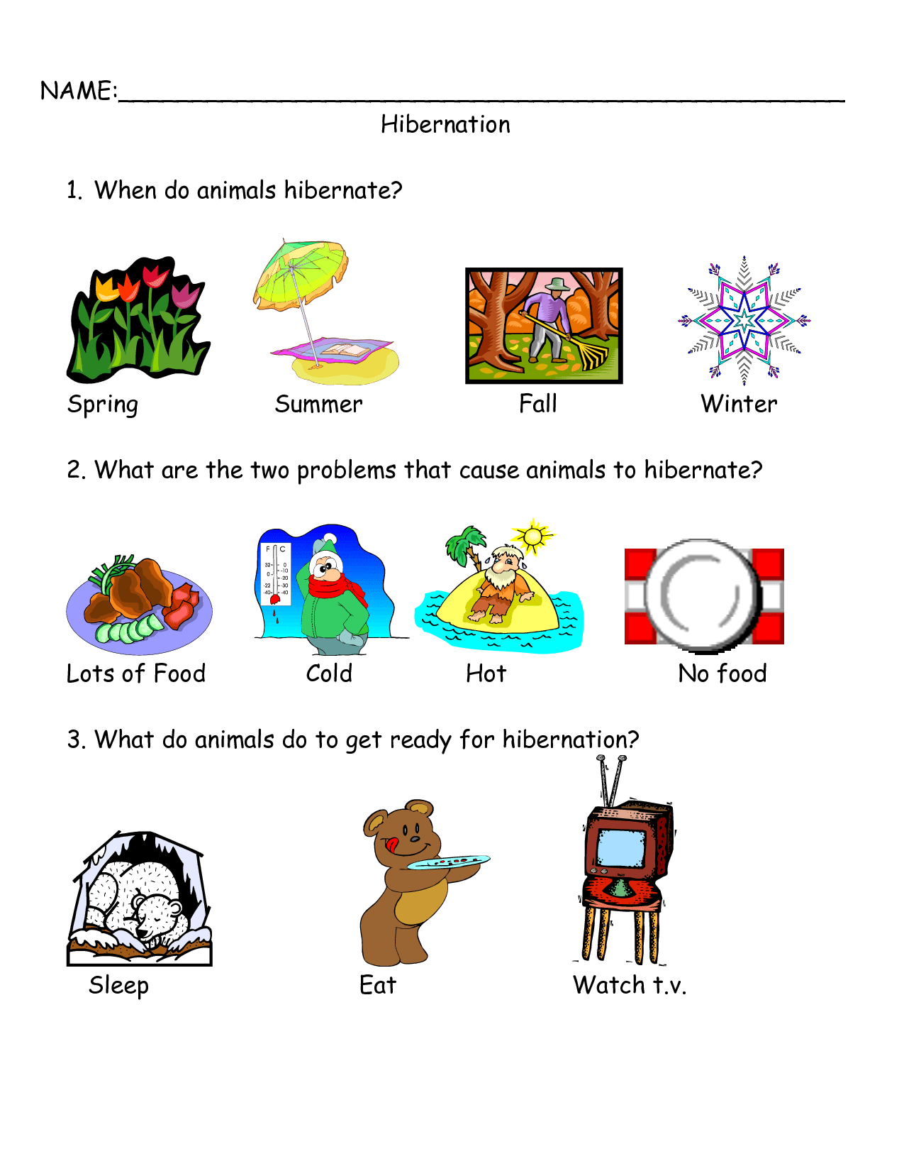 5 Best Images Of Free Printable Worksheets Hibernation