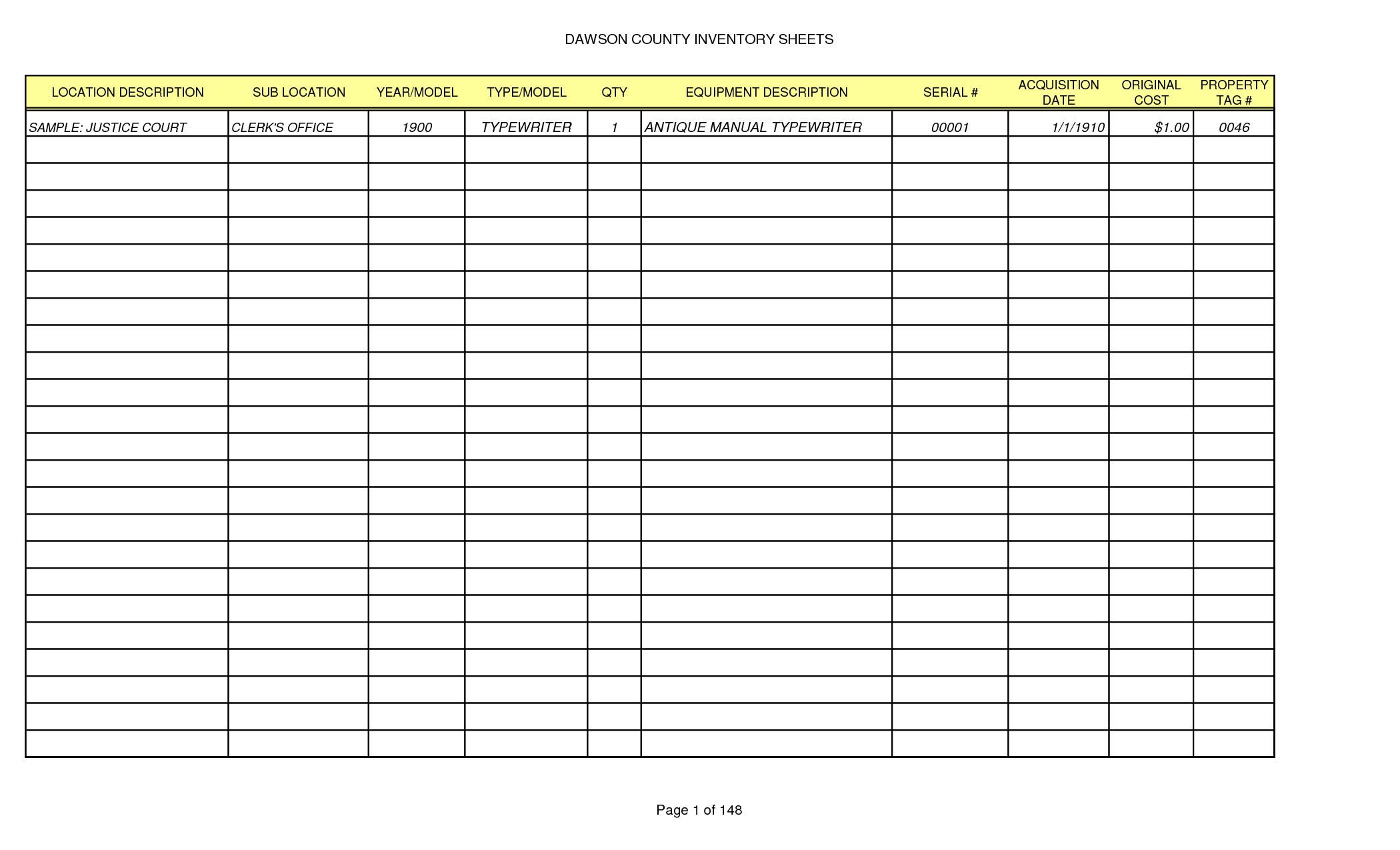 The Gallery For Gt Printable Blank Inventory Spreadsheet