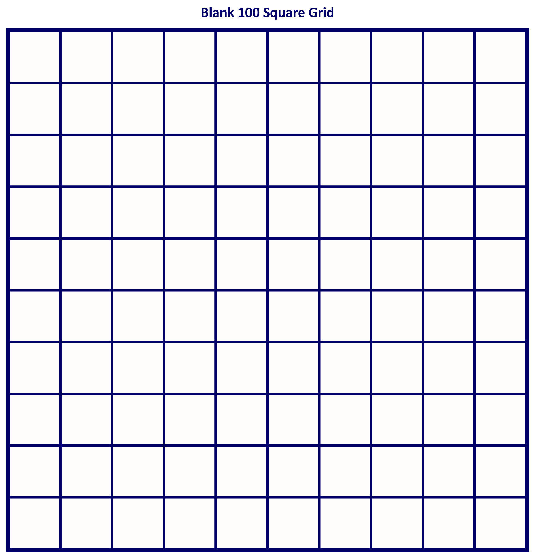7 Best Images Of Printable 100 Square Grid