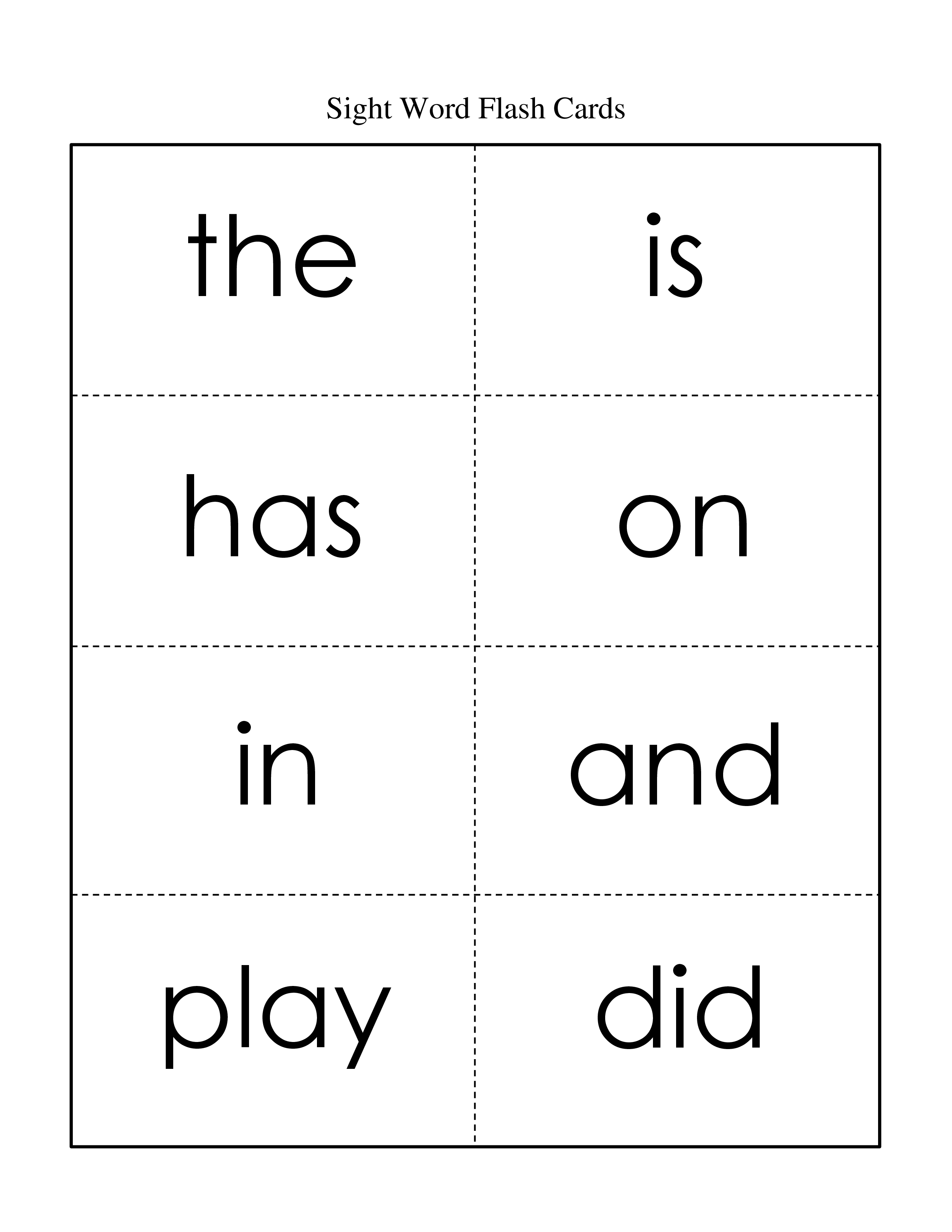 Free Printable Sight Word List For First Grade