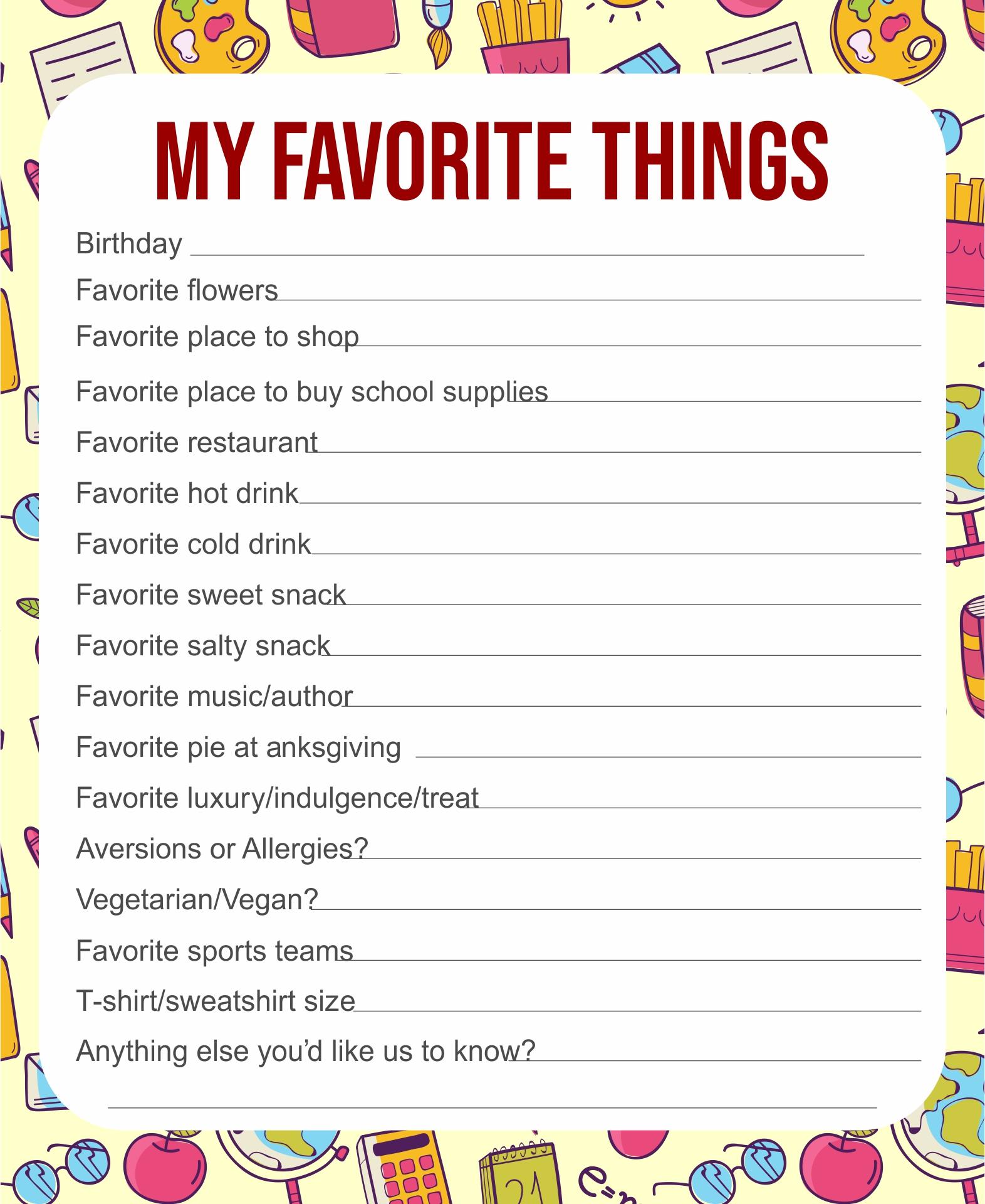 5 Best My Favorite Things Template Printable
