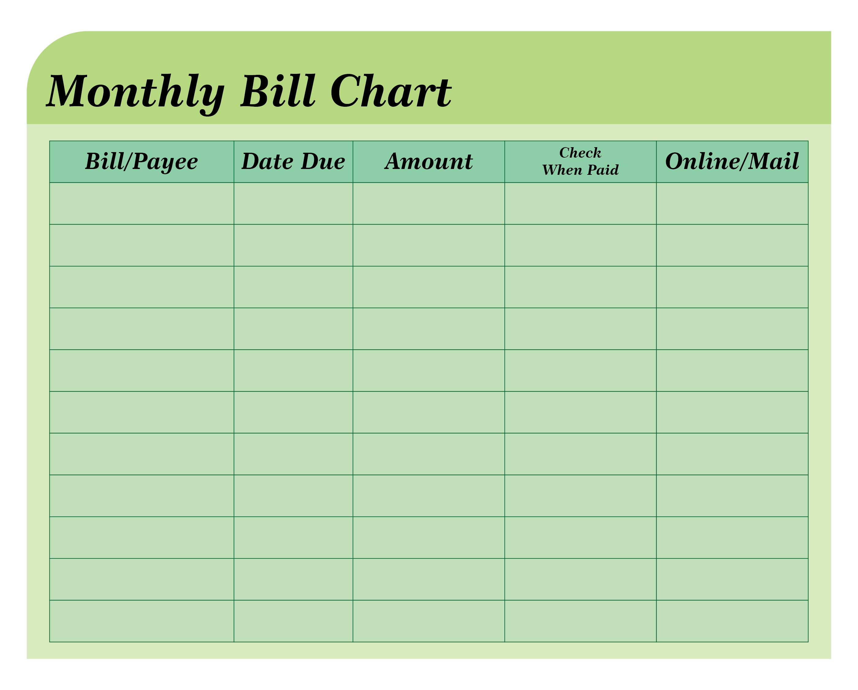 6 Best Images Of Free Printable Bill Payment Chart