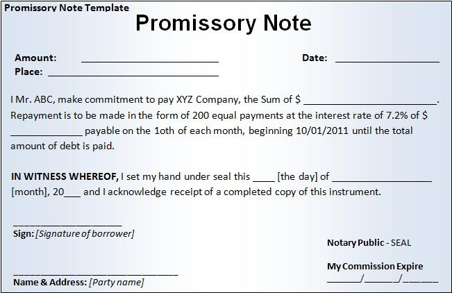 Promissory Note Form Free Printable Business and Legal Forms