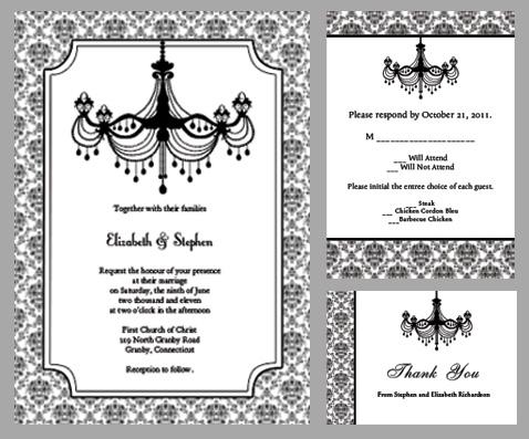 Printable Black And White Wedding Invitations