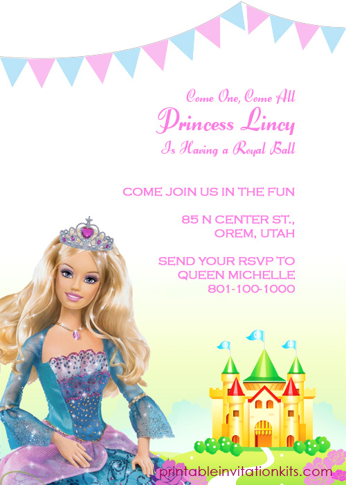 barbie princess birthday invitation