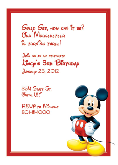 mickey mouse free invitation wedding