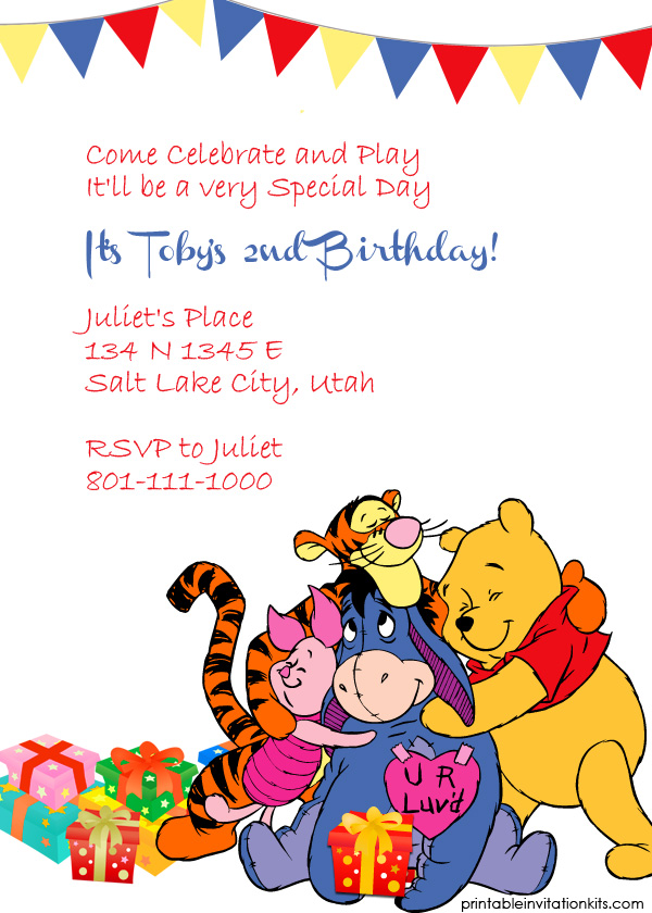 winnie the pooh and friends invitation