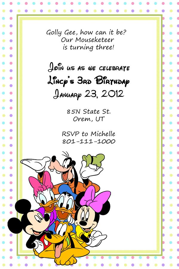 Printable Invitations Disney