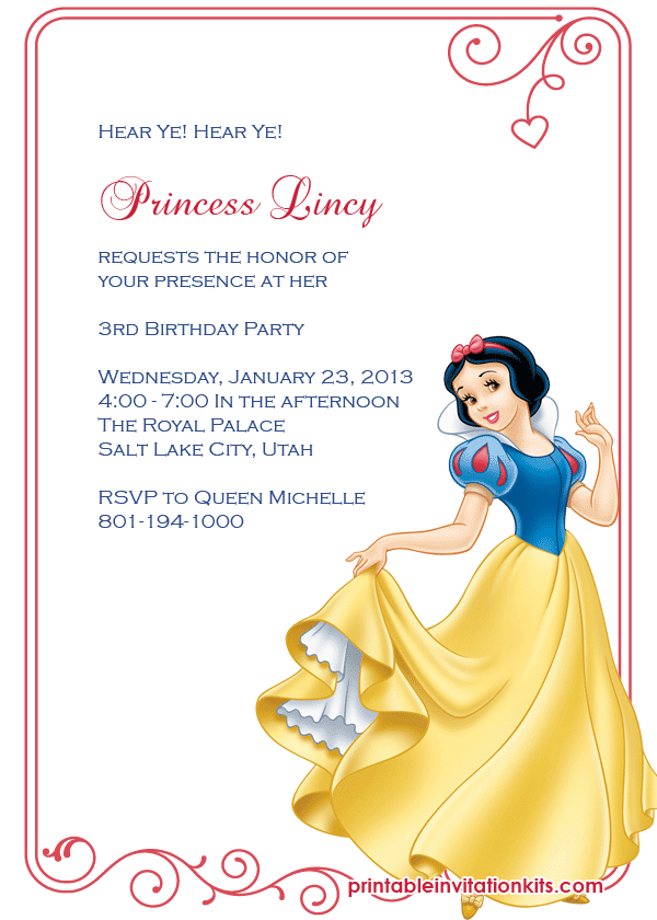 snow white princess birthday invitation