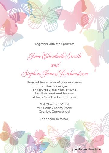 Spring Erflies Printable Invitation Template