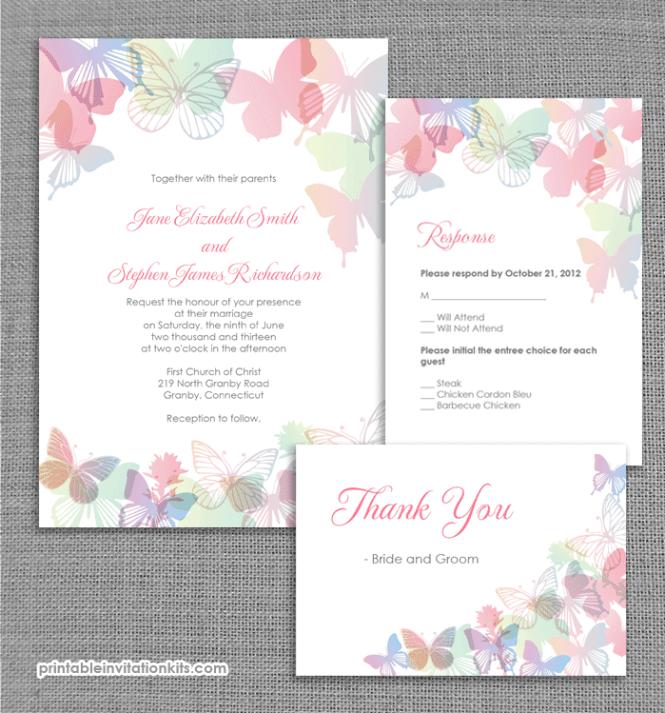 Spring Erflies Wedding Invitation Set