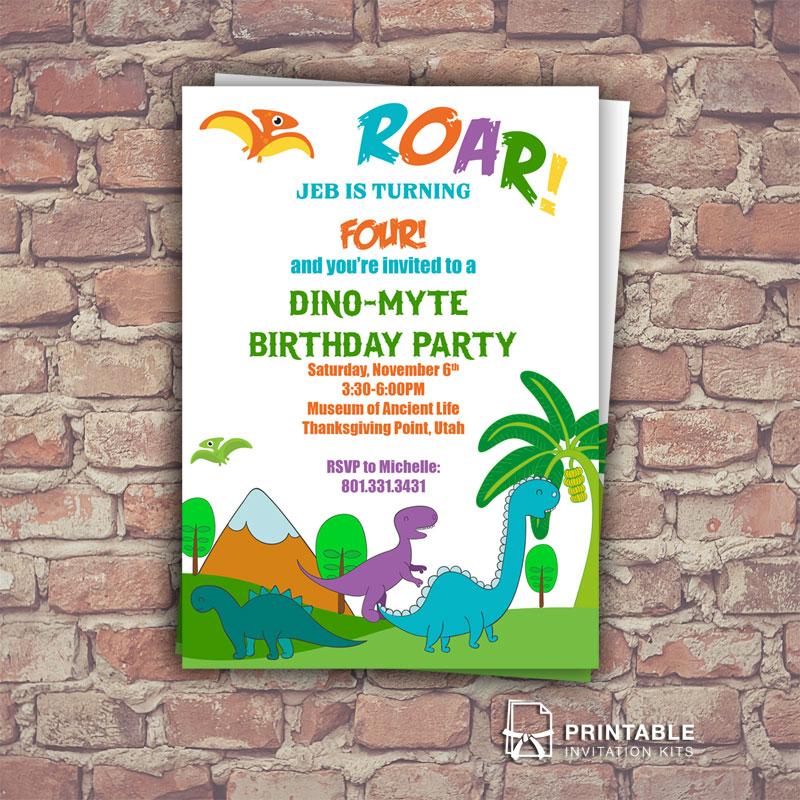 dinosaurs free birthday invitation