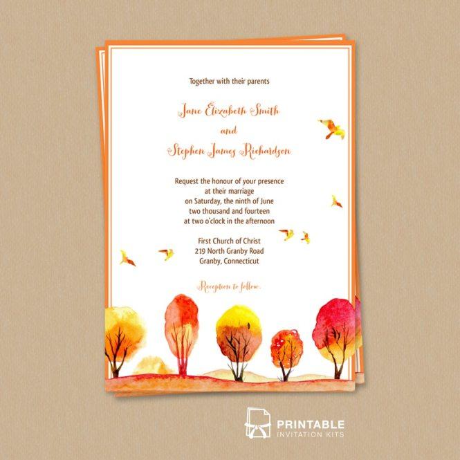 Autumn Fall Scene Wedding Invitation