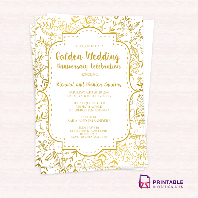Golden Fl Wedding Invitation Template Large Image 838x616px