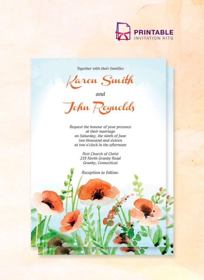 Poppy Garden Wedding Invitation