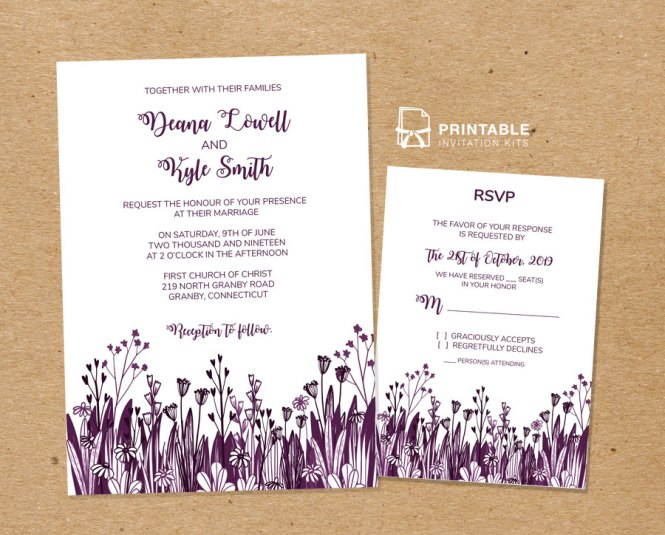 Country Foliage Wedding Invitation And Rsvp Templates