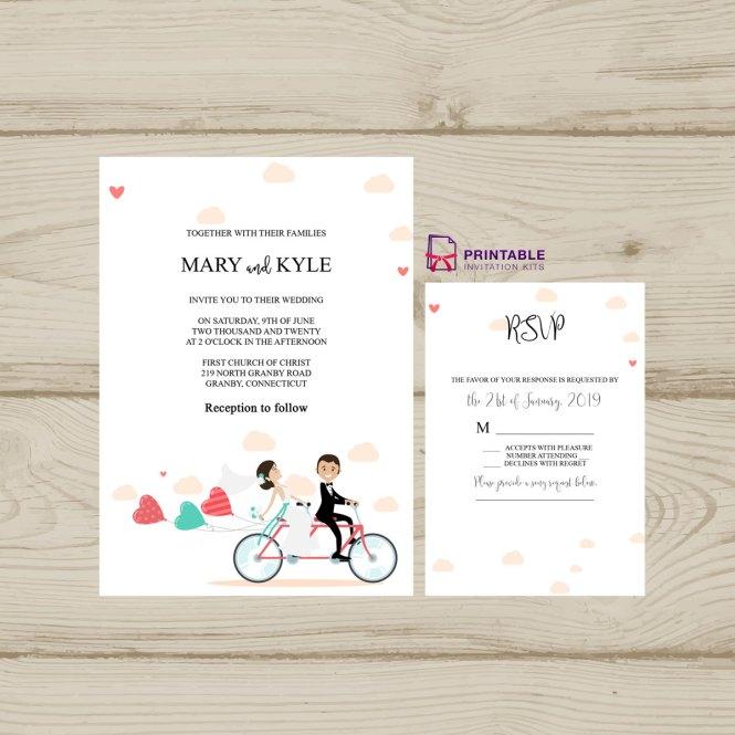 Cute On Bike Wedding Invitation Pdf And Rsvp