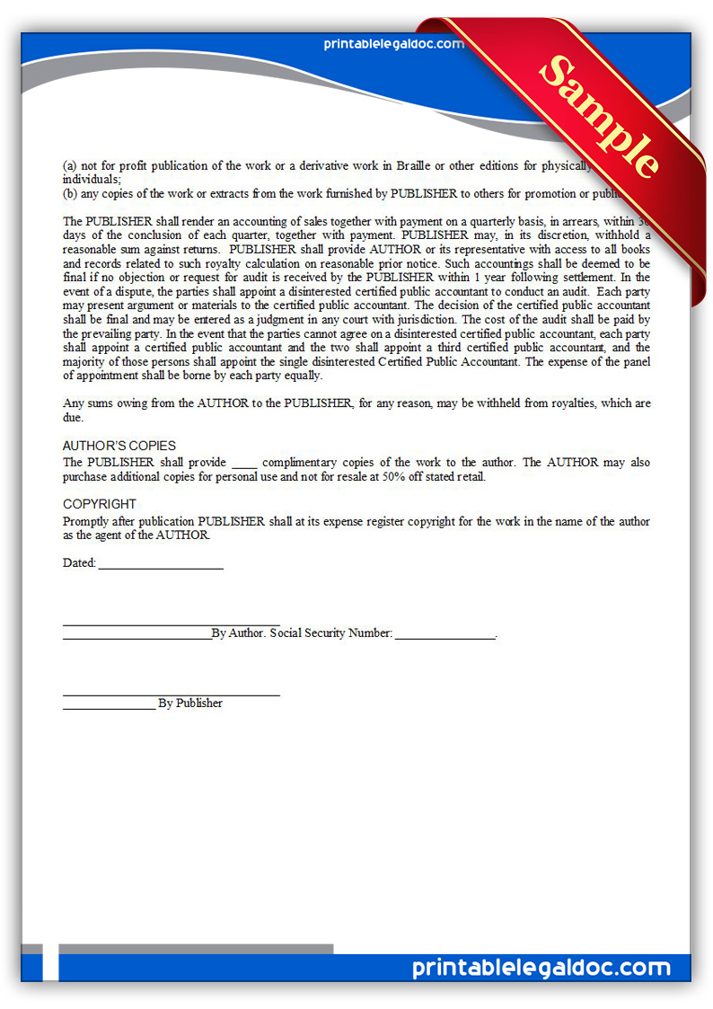 Free Printable Book Publication Agreement Form GENERIC