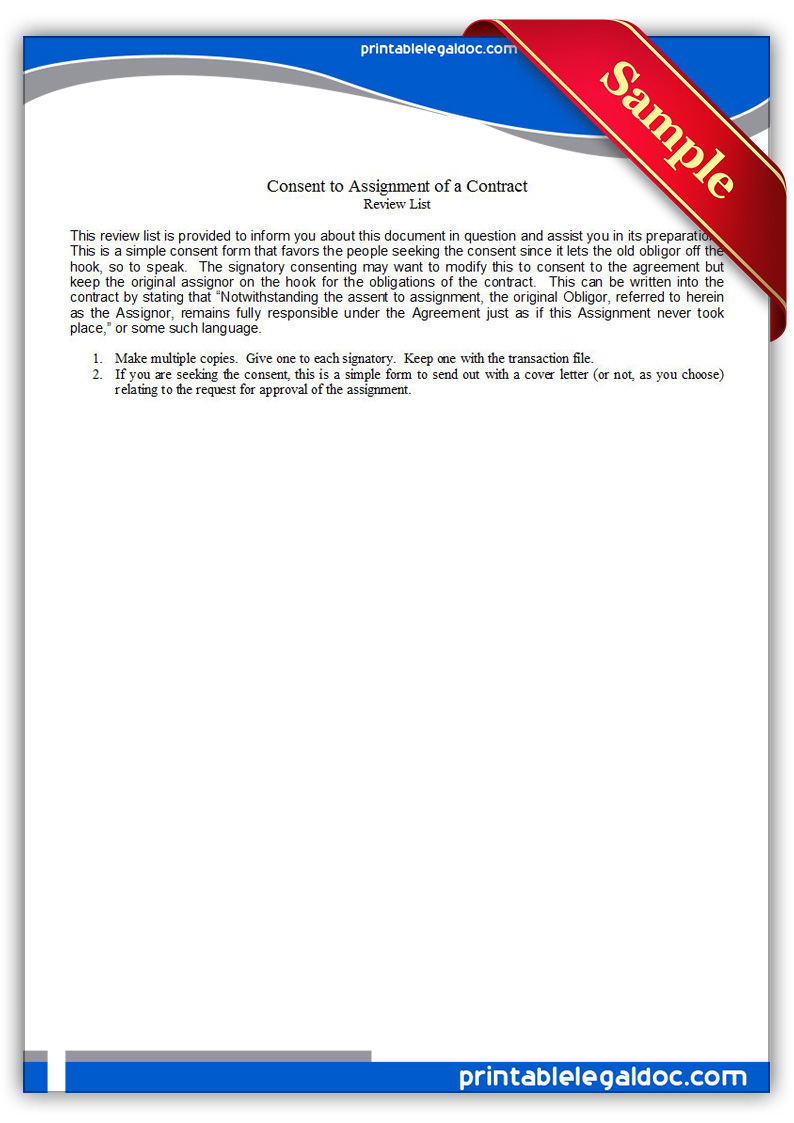 Free Printable Consent To Assignment Of A Contract Form GENERIC