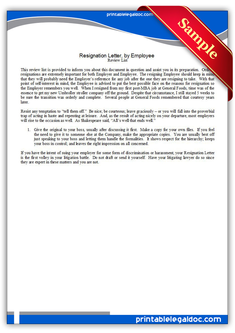 Free Printable Resignation LetterBy Employee Form GENERIC