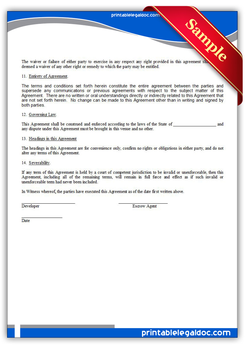 Free Printable Source Code Escrow Agreement Form GENERIC