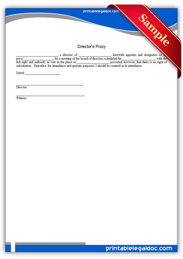 Free Printable Director's Proxy Form (GENERIC)