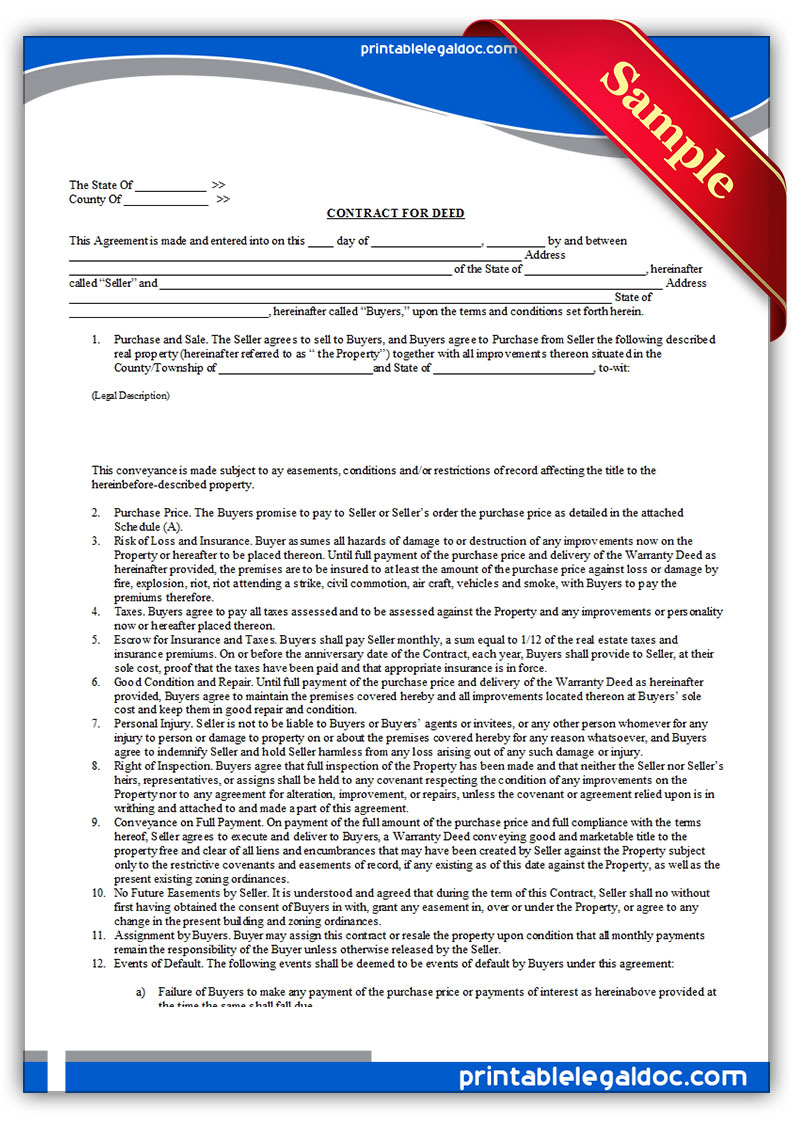 Purchase Land Example Contract