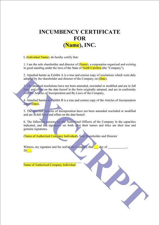 Free Printable Certificate Of Incumbency Form (GENERIC)