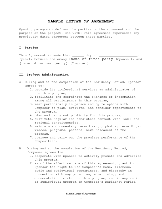 Sample Letter Of Agreement Between Two People Diydry