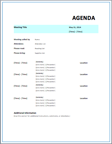 Strategic Meeting Agenda Templates Printable Meeting Agenda Templates