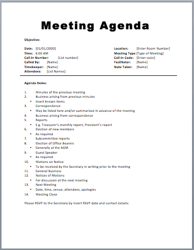basic meeting agenda template printable meeting agenda