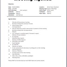 Basic Meeting Agenda Template