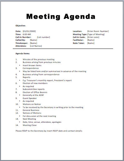 Basic Meeting Agenda Template  Basic Meeting Agenda Template