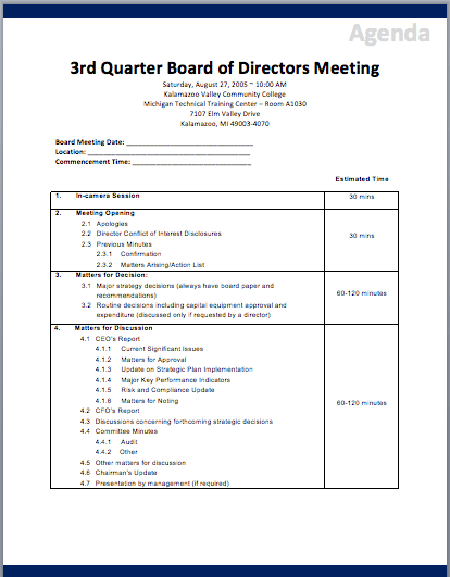 To create the structure of the board meeting agenda template, include the following: Board Of Directors Meeting Agenda Templates Printable Meeting Agenda Templates