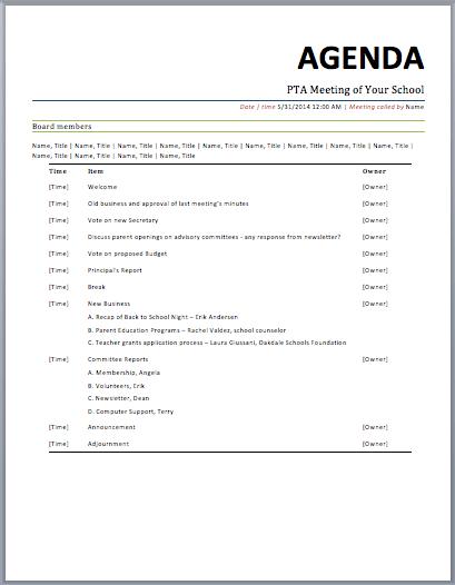 Perfect PTA Meeting Agenda Template