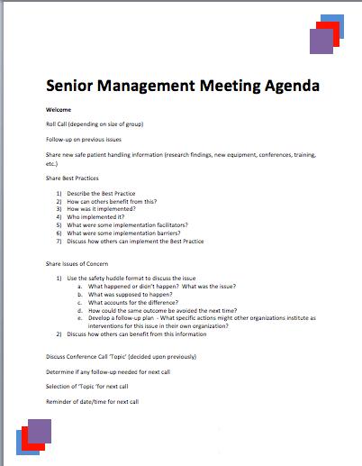Senior Management Meeting Agenda