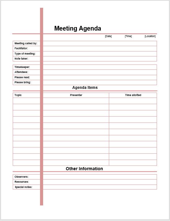 67 Free Printable Meeting Agenda Templates In Ms Word Format