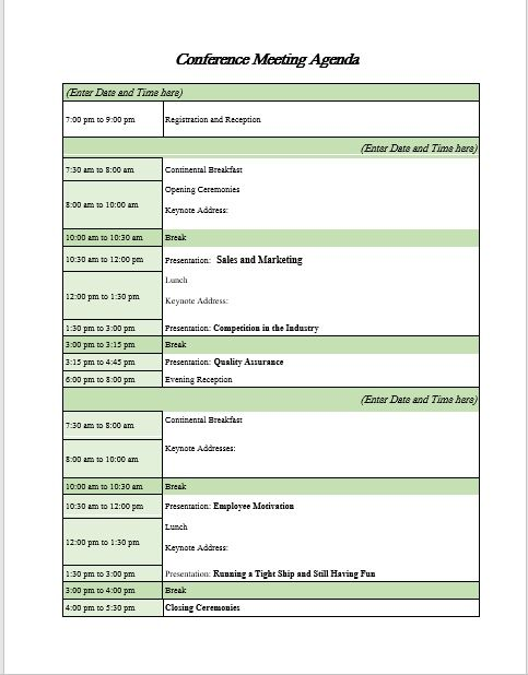 Conference meeting agenda template 01