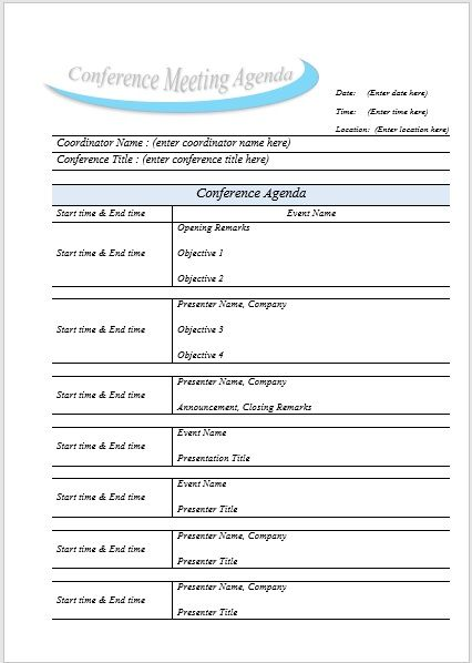 Conference meeting agenda template 05