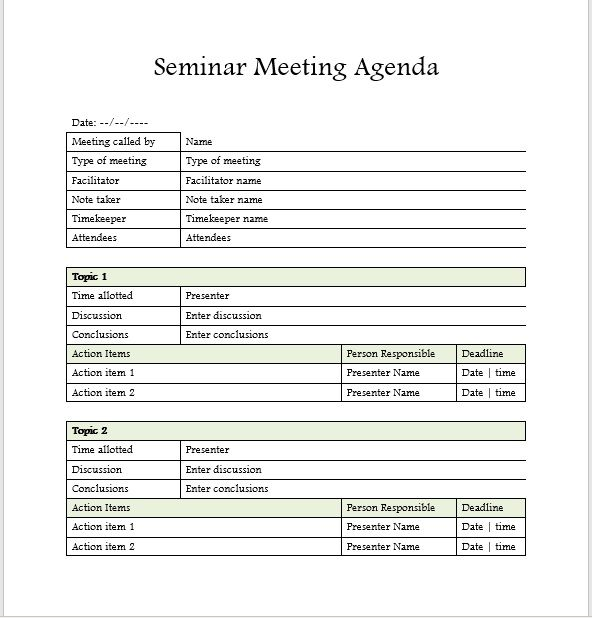 Seminar Meeting Agenda Template 10