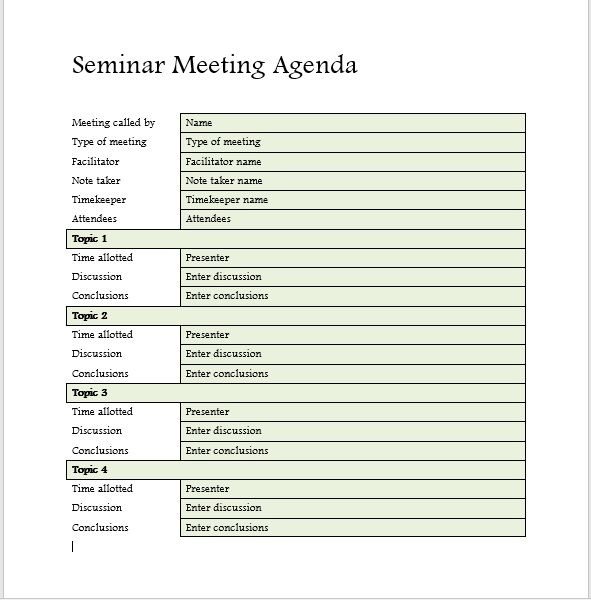 Seminar Meeting Agenda Template 7